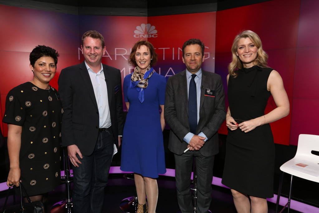 (Left to right) EMEA President of OMD, Nikki Mendonca, Former Samsung CMO Stephen Taylor, CMO of Tata Communications & CEO of NextGen, Julie Woods-Moss, CEO of Publicis Media, Steve King, CNBC anchor Louisa Boujesen