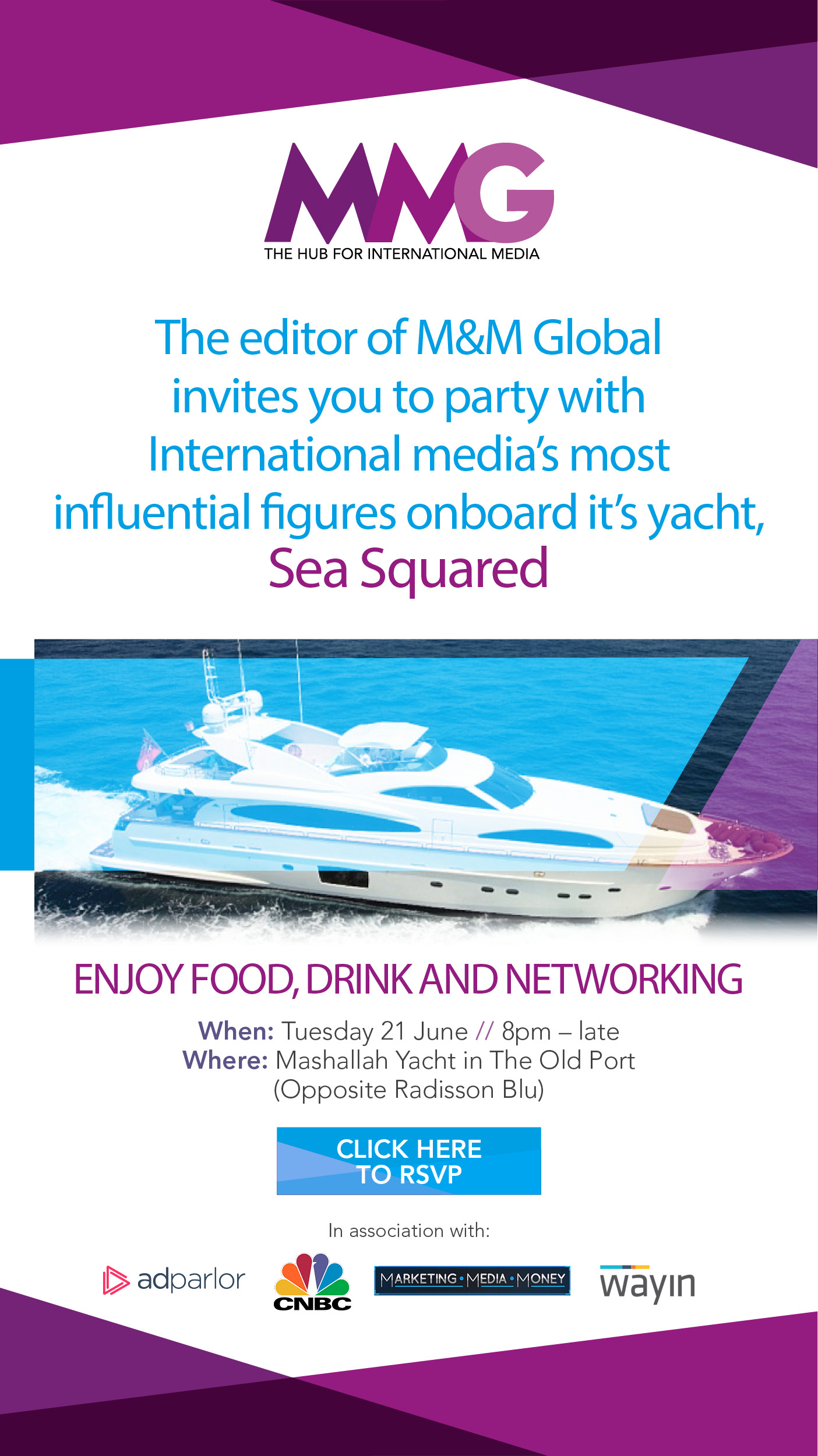 Join the biggest names in international media at our VIP Cannes boat party