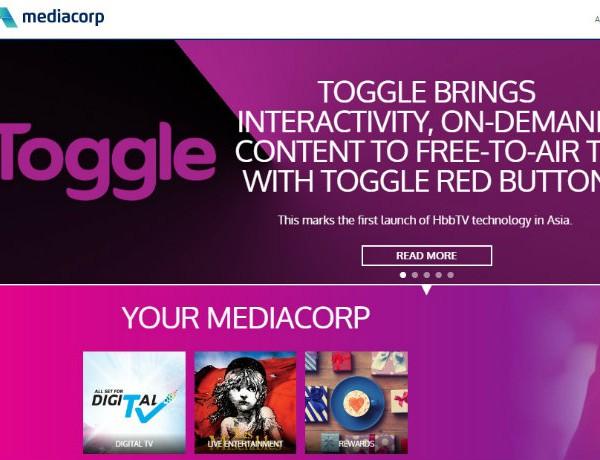 MediaCorp homepage