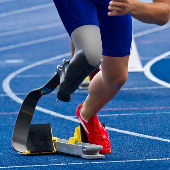 Handicapped sprinter on blue track