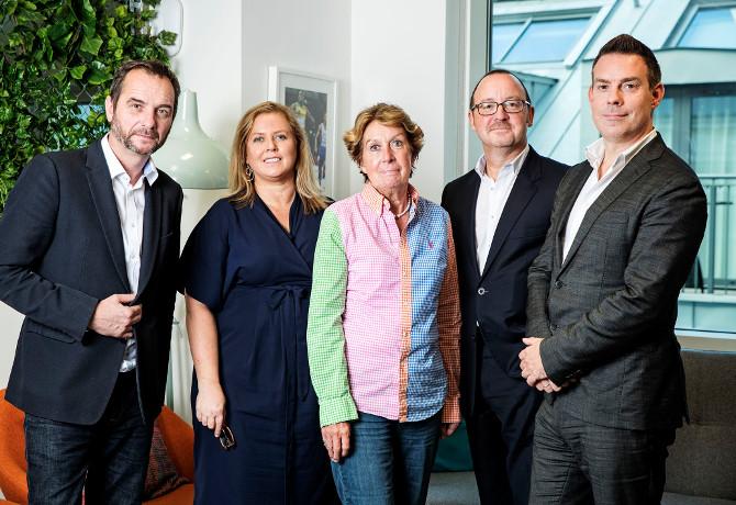 L-R Adrian Pettett, CEO, Havas Sports & Entertainment Cake; Louise Gaynor; Sue Wickerson, CFO, TargetMCG; Robert Wilkerson; Paul Frampton