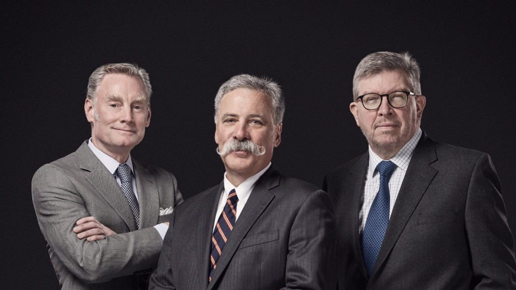 F1's new management: (L-R) Sean Bratches, Chase Carey, Ross Brawn