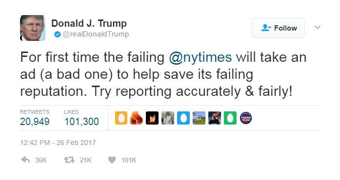 Trump NYT tweet