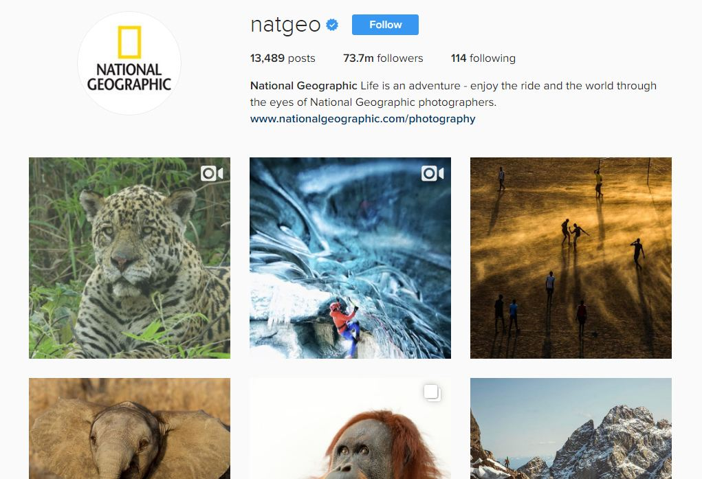 National Geographic is the most popular media brand on Instagram