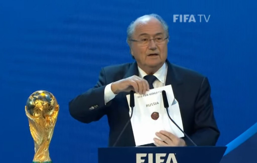 Former FIFA president Sepp Blatter controversially revealing the 2018 World Cup host country (FIFA/YouTube)