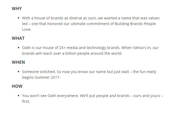 Why Oath? Why now? The message on AOL's website