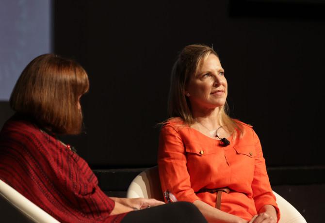 Kim Kadlec (right), being interviewed at FOMG17