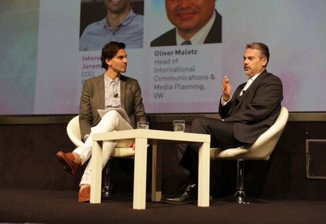 (L-R) Festival of Media's Jeremy King and VW's Oliver Maletz