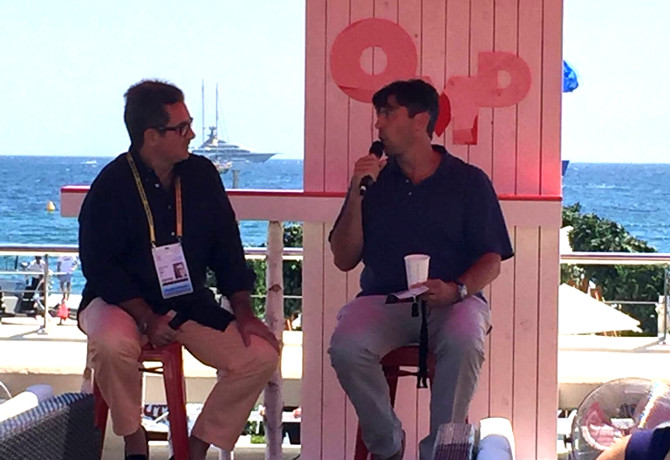 Oath CEO Tim Armstrong (right) in conversation with Mainardo de Nardis, CEO of OMD Worldwide
